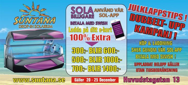 Julkampanj - få Dubbelt-Upp - sola solarium billigt i Solna