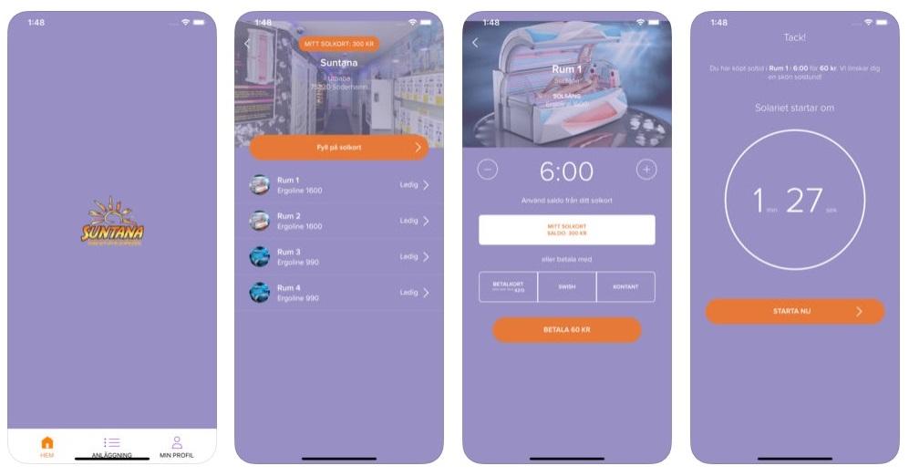 Suntana App betalsätt – Swish, Solkort & kort